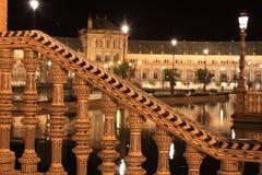 Νύχτα διάσημο Plaza de Espana Στοκ φωτογραφία με δικαίωμα ελεύθερης χρήσης