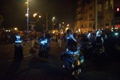 Νύχτα και παρέλαση φωτιών Hastings στις 15 Οκτωβρίου 2017 Στοκ Φωτογραφίες