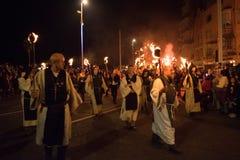 Νύχτα και παρέλαση φωτιών Hastings στις 15 Οκτωβρίου 2017 Στοκ Εικόνες