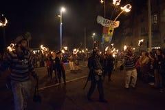 Νύχτα και παρέλαση φωτιών Hastings στις 15 Οκτωβρίου 2017 Στοκ φωτογραφίες με δικαίωμα ελεύθερης χρήσης