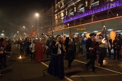 Νύχτα και παρέλαση φωτιών Hastings στις 15 Οκτωβρίου 2017 Στοκ εικόνα με δικαίωμα ελεύθερης χρήσης