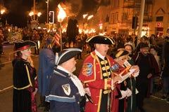 Νύχτα και παρέλαση φωτιών Hastings στις 15 Οκτωβρίου 2017 Στοκ Φωτογραφία