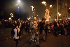 Νύχτα και παρέλαση φωτιών Hastings στις 15 Οκτωβρίου 2017 Στοκ φωτογραφία με δικαίωμα ελεύθερης χρήσης