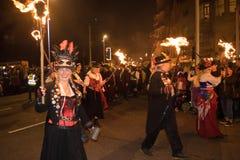 Νύχτα και παρέλαση φωτιών Hastings στις 15 Οκτωβρίου 2017 Στοκ εικόνες με δικαίωμα ελεύθερης χρήσης