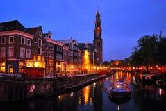 νύχτα καναλιών του Άμστερνταμ prinsengraht Στοκ Φωτογραφία