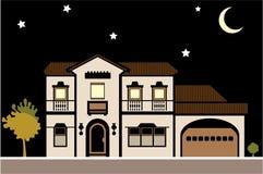Νύχτα μεγάρων σπιτιών ελεύθερη απεικόνιση δικαιώματος