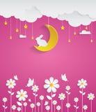 Νύχτα με τα λουλούδια και το ρόδινο υπόβαθρο Στοκ εικόνα με δικαίωμα ελεύθερης χρήσης