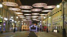 Νύχτα Μόσχα, πάροδος Χριστουγέννων Kamergersky απόθεμα βίντεο