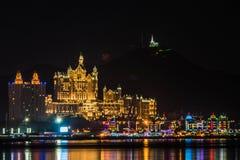 Νύχτα ξενοδοχείων του Castle Dalian Στοκ Φωτογραφία