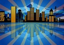 Νύχτα οριζόντων του Πόρτλαντ Όρεγκον αντανάκλασης διανυσματική απεικόνιση