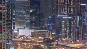 Νύχτα ουρανοξυστών και γηπέδων του γκολφ μαρινών του Ντουμπάι timelapse, Ντουμπάι, Ηνωμένα Αραβικά Εμιράτα απόθεμα βίντεο