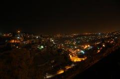 Νύχτα πέρα από την παλαιά πόλη Ιερουσαλήμ Ισραήλ Στοκ Εικόνες