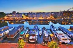 Νύχτα πέρα από την πόλη του Άμστερνταμ Στοκ Εικόνα