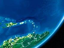 Νύχτα πέρα από τις Καραϊβικές Θάλασσες διανυσματική απεικόνιση