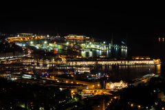 Νύχτα πέρα από το αρχαίο λιμάνι Στοκ Εικόνες