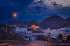 Νύχτα που πυροβολείται Muscat του τοπίου, Ομάν Στοκ Εικόνα