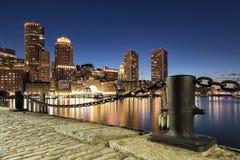 Νύχτα που πυροβολείται της Βοστώνης Στοκ Φωτογραφία