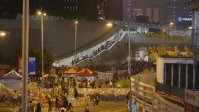 Νύχτα πριν από την εκκαθάριση στην επανάσταση ομπρελών - ναυαρχείο, Χονγκ Κονγκ Στοκ εικόνα με δικαίωμα ελεύθερης χρήσης