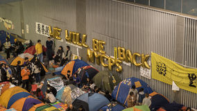 Νύχτα πριν από την εκκαθάριση στην επανάσταση ομπρελών - ναυαρχείο, Χονγκ Κονγκ Στοκ Εικόνα