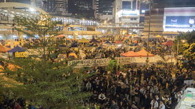 Νύχτα πριν από την εκκαθάριση στην επανάσταση ομπρελών - ναυαρχείο, Χονγκ Κονγκ Στοκ Εικόνες