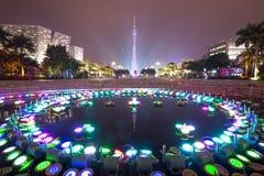 Νύχτα πόλεων του guangzhou Στοκ Φωτογραφία