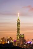 Νύχτα πόλεων της Ταϊπέι Στοκ Εικόνα
