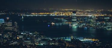 Νύχτα πόλεων του Μανχάταν Νέα Υόρκη Στοκ Φωτογραφία
