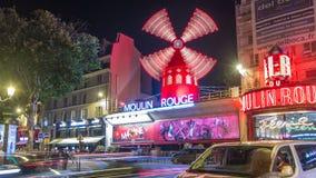 Νύχτα ρουζ Moulin timelapse Γαλλία Παρίσι φιλμ μικρού μήκους