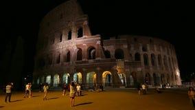 νύχτα Ρώμη coliseum απόθεμα βίντεο