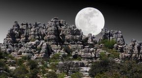 νύχτα σεληνόφωτου τοπίων Στοκ Εικόνες