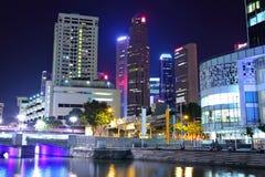 νύχτα Σινγκαπούρη πόλεων Στοκ φωτογραφίες με δικαίωμα ελεύθερης χρήσης