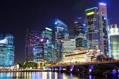 νύχτα Σινγκαπούρη Στοκ Φωτογραφία