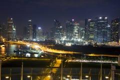 Νύχτα Σινγκαπούρη Στοκ φωτογραφίες με δικαίωμα ελεύθερης χρήσης