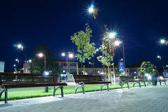 Νύχτα στη λιθουανική πόλη Στοκ Φωτογραφίες