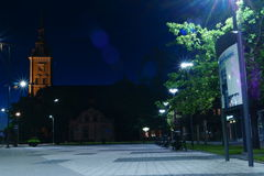 Νύχτα στη λιθουανική πόλη Στοκ Εικόνα