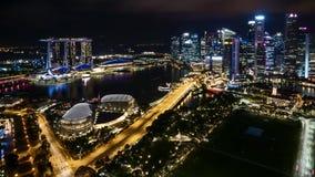 Νύχτα στη Σιγκαπούρη απόθεμα βίντεο