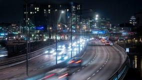 νύχτα Στοκχόλμη πόλεων απόθεμα βίντεο