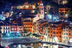 Νύχτα στο Portofino Ιταλία Στοκ εικόνες με δικαίωμα ελεύθερης χρήσης