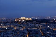 νύχτα της Αθήνας ακρόπολη Στοκ Εικόνα