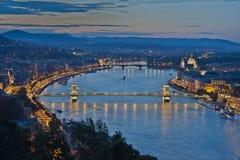 νύχτα της Βουδαπέστης Στοκ Φωτογραφίες