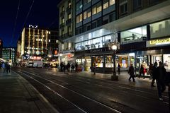 νύχτα της Γενεύης Στοκ Φωτογραφία