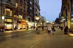 νύχτα της Γενεύης Στοκ Εικόνες