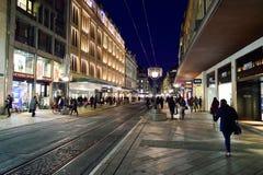 νύχτα της Γενεύης Στοκ εικόνα με δικαίωμα ελεύθερης χρήσης