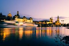 νύχτα της Δρέσδης Γερμανία Στοκ Εικόνα