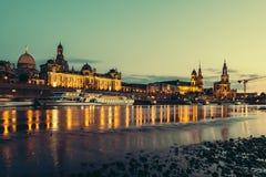 νύχτα της Δρέσδης Γερμανία Στοκ Εικόνες