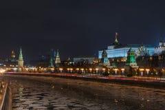 Νύχτα της Μόσχας Κρεμλίνο Στοκ εικόνα με δικαίωμα ελεύθερης χρήσης
