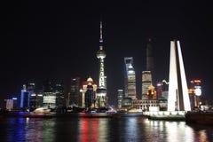 Νύχτα της Σαγκάη Pudong Στοκ Εικόνες