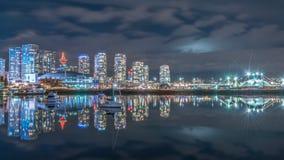 Νύχτα του άποψη-Βανκούβερ πόλεων στοκ φωτογραφίες
