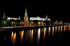 νύχτα του Κρεμλίνου Μόσχα Στοκ εικόνες με δικαίωμα ελεύθερης χρήσης