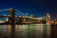 νύχτα του Μπρούκλιν γεφυ&rho Στοκ εικόνες με δικαίωμα ελεύθερης χρήσης